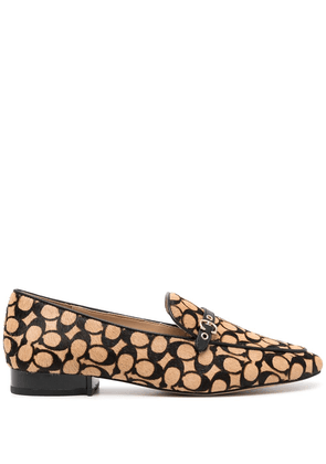 Coach monogram pointed-toe loafers - Brown