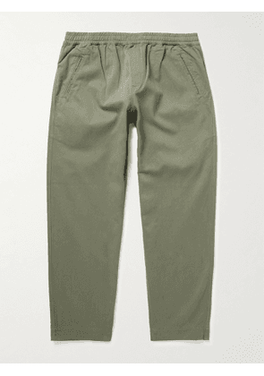 Folk - Assembly Cropped Tapered Pleated Garment-Dyed Cotton-Twill Trousers - Men - Green - 2