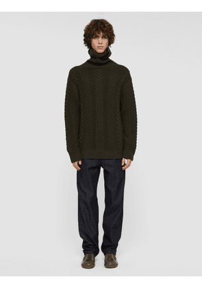 Worsted Cable Knit High Neck Jumper