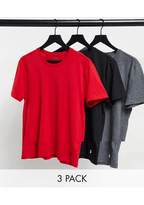 Polo Ralph Lauren 3 pack lounge t-shirts with polo player logo in black / grey / red-Multi