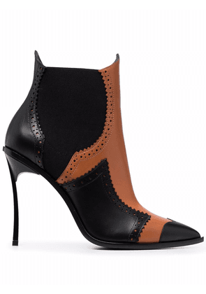 Casadei 120mm perforated ankle boots - Black
