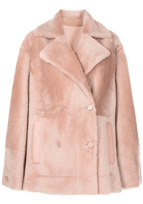 Drome oversized faux fur double-breasted coat - Pink