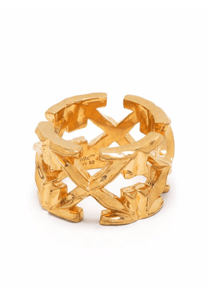 Off-White hammered-effect ring - Gold