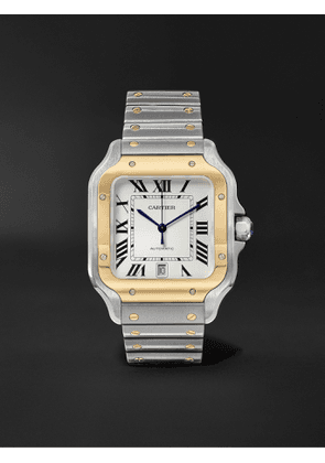 Cartier - Santos Automatic 39.8mm 18-Karat Gold Interchangeable Stainless Steel and Leather Watch, Ref. No. W2SA0006 - Men - White