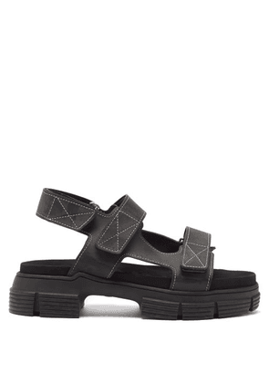Ganni - Chunky Topstitched-leather Sandals - Womens - Black