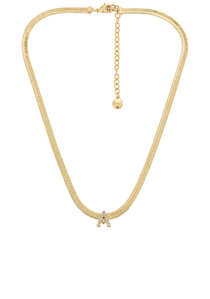 BaubleBar Gina Initial Necklace in Metallic Gold. Size I, O.