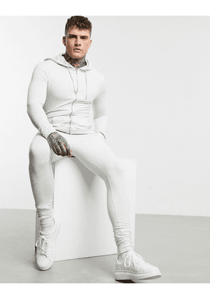 ASOS DESIGN organic muscle tracksuit with zip up hoodie in white marl
