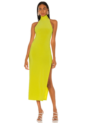 Norma Kamali Halter Turtle Side Slit Gown in Green. Size L, M, XS.