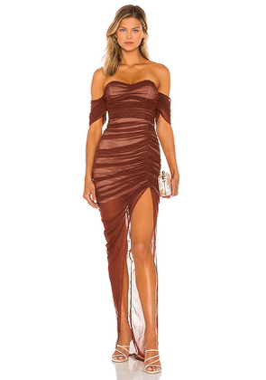 Nookie Dita Mesh Gown in Brown. Size XS.