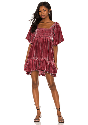 Free People Easy To Love Mini Dress in Mauve. Size M, S, XS.
