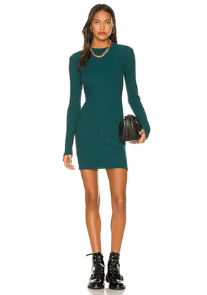 MONROW Brushed Thermal Long Sleeve Mock Neck Mini Dress in Teal. Size M, S, XS.