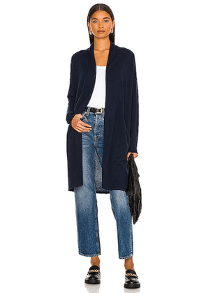 Autumn Cashmere Open Duster with Pockets in Navy. Size XS, S.