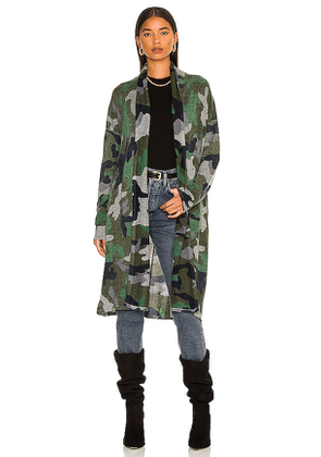 Autumn Cashmere Inked Camo Open Duster in Army. Size XS, S, M.