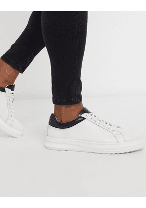 Dune chunky sole lace up leather trainers in white
