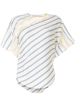Cédric Charlier lace panelled striped T-shirt - White