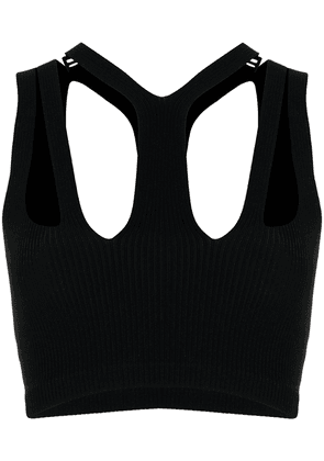Dion Lee ribbed cut-out cropped top - Black