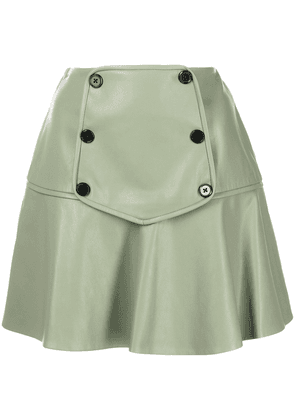 Alexis faux-leather double-breasted button skirt - Green
