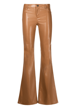 Alice+Olivia mid-rise leather flared trousers - Brown
