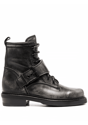 Buttero buckle-strap lace-up boots - Black