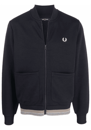 FRED PERRY embroidered-logo zipped-up sweater - Black