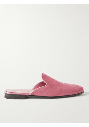 Manolo Blahnik - Miriomu Leather-Trimmed Suede Backless Loafers - Men - Pink - UK 8