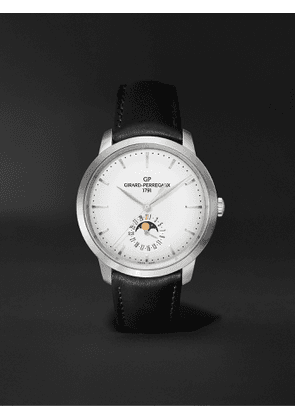 Girard-Perregaux - 1966 Date and Moon Phases Automatic 40mm Stainless Steel and Leather Watch, Ref. No. 49545-11-131-BB60 - Men - Silver