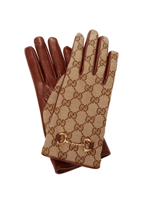 GG-canvas and leather gloves
