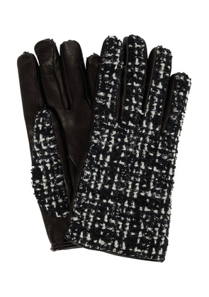 Tweed and leather gloves