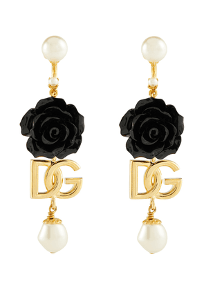 DG floral and faux pearl earrings