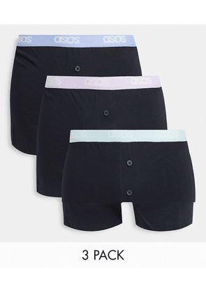ASOS DESIGN 3 pack boxers with pop colour waistband-Black