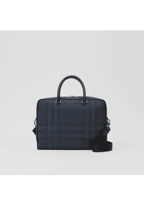 Burberry London Check and Leather Briefcase, Blue