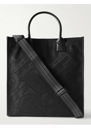 Burberry - Leather-Trimmed Recycled Logo-Jacquard Tote Bag - Men - Black