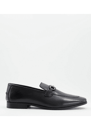 Dune Preston wide fit loafers in black leather