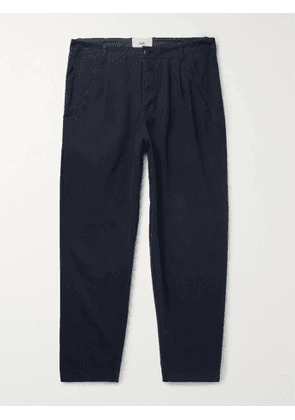 Folk - Assembly Tapered Pleated Cotton-Canvas Trousers - Men - Blue - 1