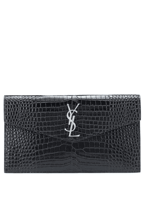 Uptown embossed leather clutch