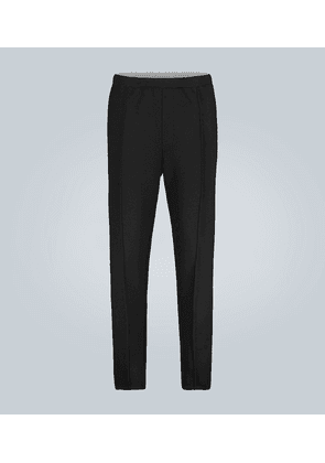 Wool and leather-trimmed sweatpants