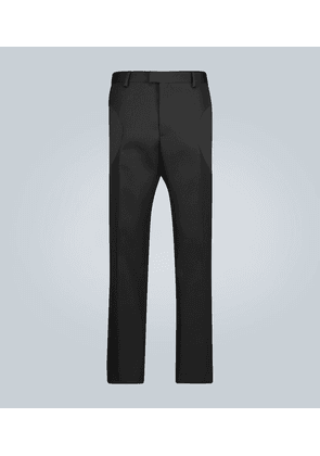 Straight-fit compact wool pants