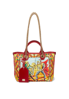 Capri Small printed leather-trimmed tote
