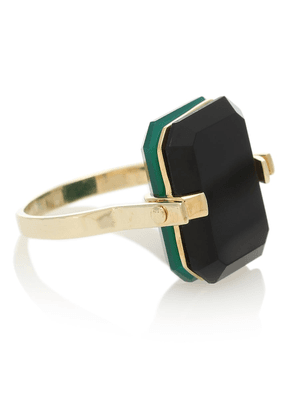 Deco sandwich 9kt yellow gold ring