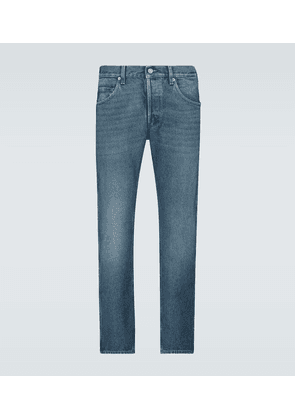 Washed denim tapered jeans