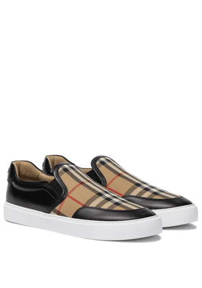 Vintage Check leather and canvas sneakers