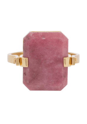 Deco Sandwich 9kt gold ring with agate and rhodonite