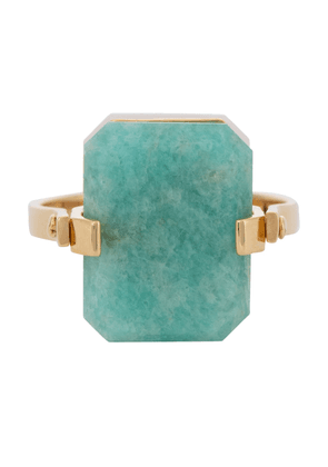 Deco Sandwich 9kt gold ring with agate and amazonite