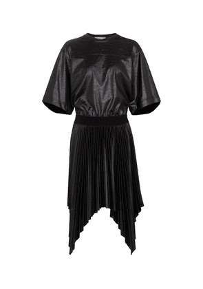 Lacquered pleated T-shirt dress