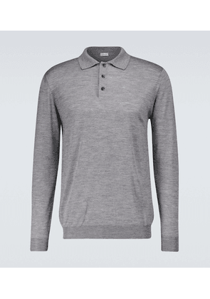 Long-sleeved knitted polo shirt