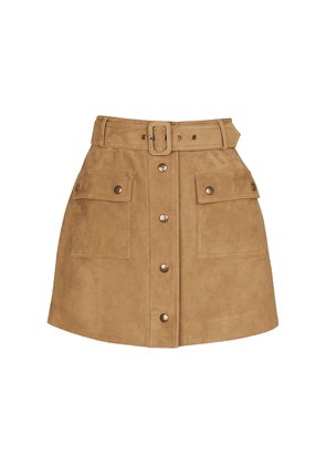 High-rise belted suede miniskirt