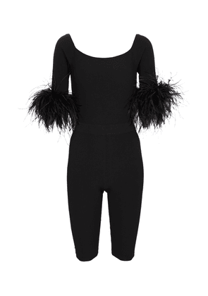 Feather-trimmed jumpsuit