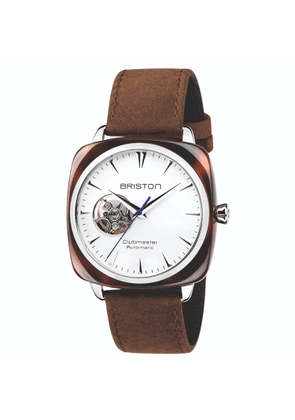 Briston Watches - Clubmaster Iconic Open Automatic Tortoise Shell White & Brown Vintage Leather Strap