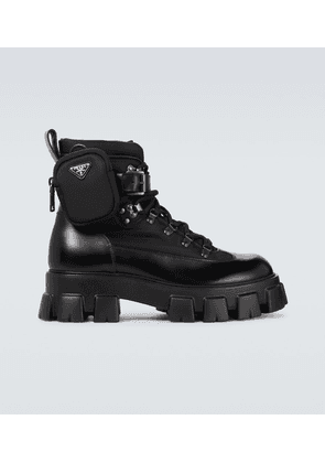 Monolith brushed leather and nylon boots