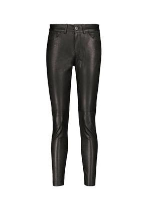Mid-rise skinny leather pants